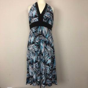 En Focus Studio - Black Blue & White Halter Dress